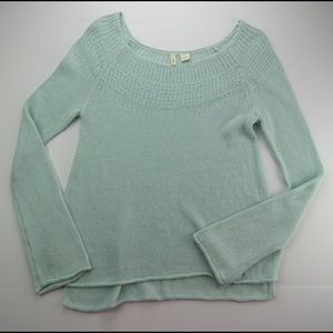 Anthropologie Moth Mint Knit Linen Sweater Small